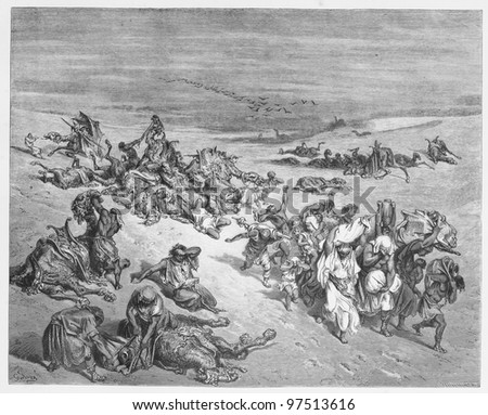 The Fifth Plague - Picture from The Holy Scriptures, Old and New Testaments books collection published in 1885, Stuttgart-Germany. Drawings by Gustave Dore. - stock photo