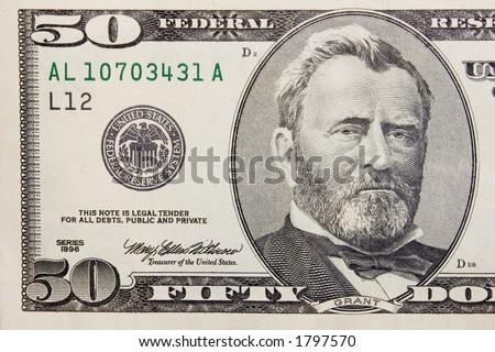 The fifty dollars banknote macro - stock photo