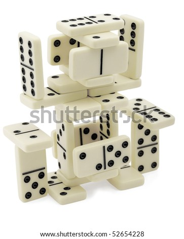 The figure of dominoes isolated on a white background - stock photo