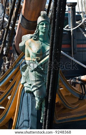 The figurehead from The HMS. Surprise in San Diego, California. - stock photo