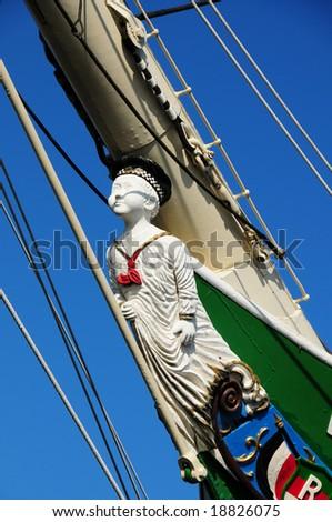 the figurehead of a sailing ship - stock photo