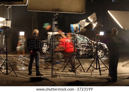 The film crew works on creation of a videoclip - stock photo