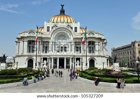 The Fine Arts Palace/Palacio de Bellas Artes in Mexico City, Mexico. - stock photo