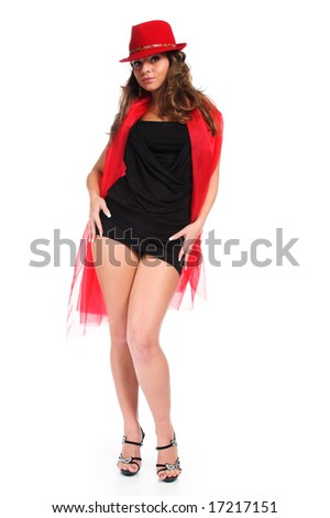 The fine girl in a red hat - stock photo