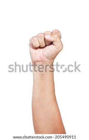 The fingers of a man on a white background. - stock photo
