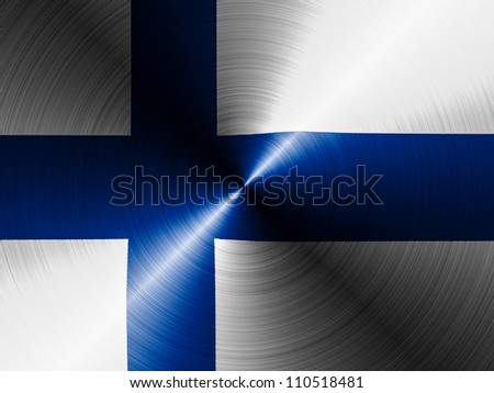 The Finnish flag painted on brushed metall - stock photo