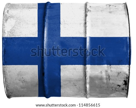The Finnish flag painted on oil barrel - stock photo