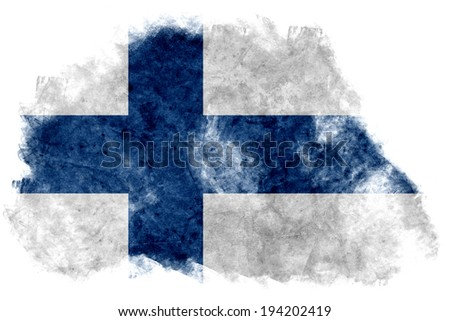 The Finnish flag painted on white paper with watercolor  - stock photo