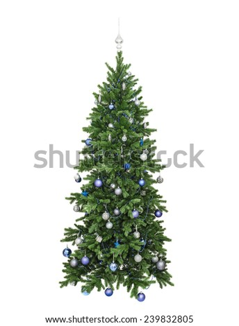 the fir-tree decorated with blue spheres, a beads and lamps, isolated on the white - stock photo