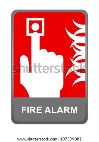 The Fire Alarm Sign Present with Isolated on White Background - stock photo