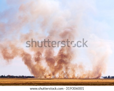 The fire and heavy smoke in the desert near the settlement during drought