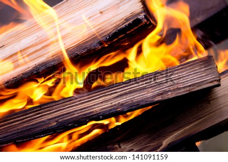 The fire, burning logs close up - stock photo