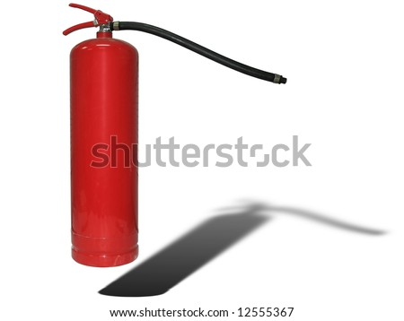 The fire extinguisher with shadow isolated on white background - stock photo