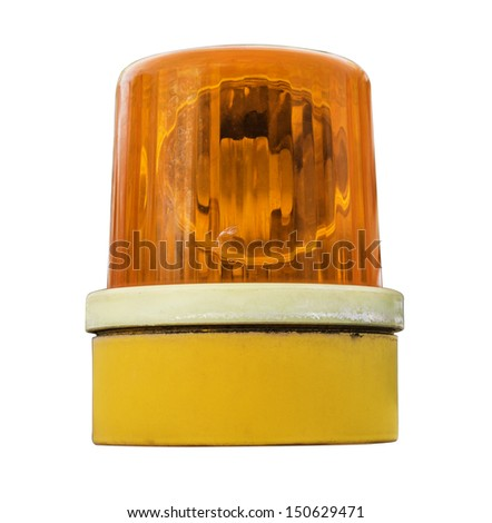 The fire sirens on white isolate background,Close up of yellow siren hanging,Emergency Light,Orange flashing and revolving light on top of a support and services vehicle. - stock photo