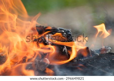 the fire, the bright flames - stock photo