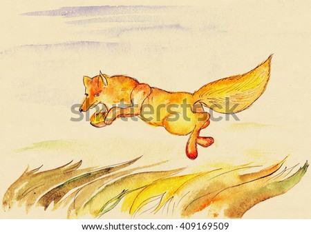 The fire thief, coyote - stock photo