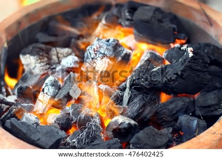The Fire Using Charcoal for grill