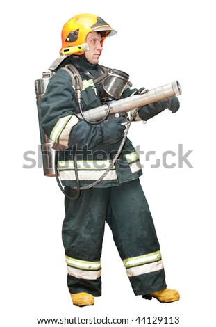 The fireman in regimentals on a white background - stock photo