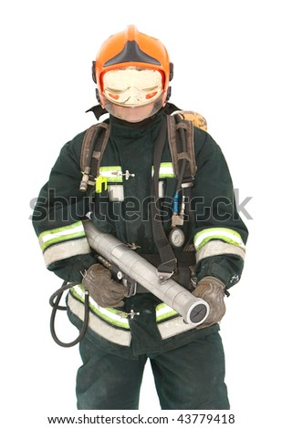 The fireman in regimentals on white background - stock photo