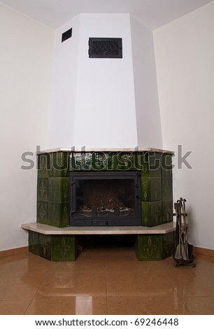 The fireplace in the room - stock photo