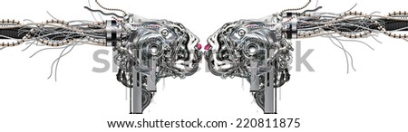The first amorous kiss of two cyborgs - stock photo