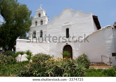 The first California mission - historic Mission Basilica San Diego de Alcala, San Diego, California.