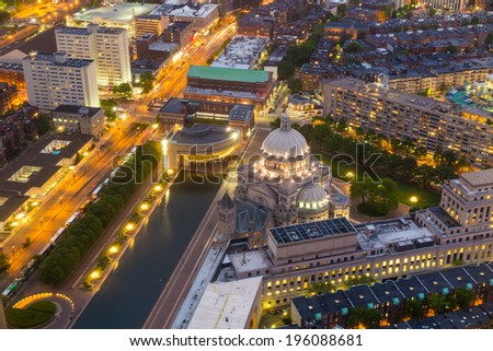 The First Church of Christ Scientist in Christian Science Plaza  at twilight in Boston, MA, USA from top view - stock photo