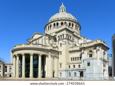 The First Church of Christ Scientist, the mother church of Christian Science in the back bay of Boston, Massachusetts, USA - stock photo
