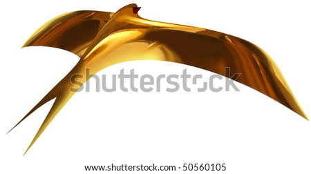The first golden swallow on white background (isolated). - stock photo