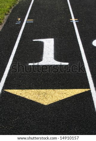 The first lane on a track. - stock photo