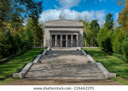 The first Lincoln Memorial building (1911) at Abraham Lincoln Birthplace National Historical Park in Hodgenville, Kentucky - stock photo