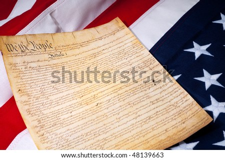 the first page of the US Constitution of the American flag - stock photo