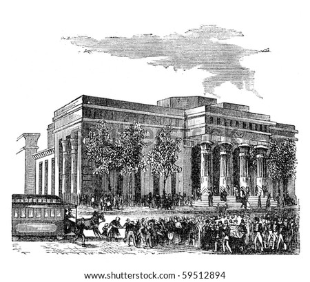 "The first Tombs building in New York. Illustration originally published in Hesse-Wartegg's ""Nord Amerika"", swedish edition published in 1880. - stock photo"