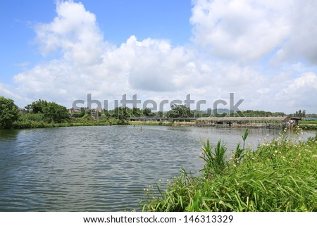 the fish pond in kaiping - stock photo