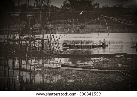 The fish traps in the river, Net Fishing Thailand - stock photo