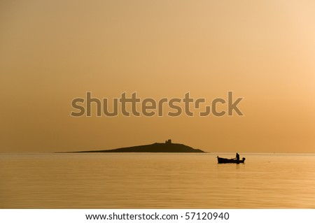 The fisherman at the sunset, Sferacavallo, Sicily, Italy - stock photo