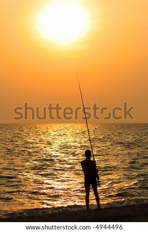 The fisherman on a sunset