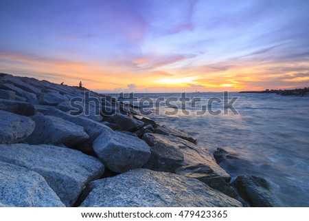 the fisherman on the rock when sunset