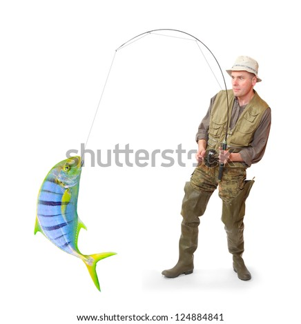 The fisherman with big fish. Success concept.