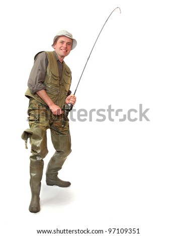 The fisherman with fishing rod.