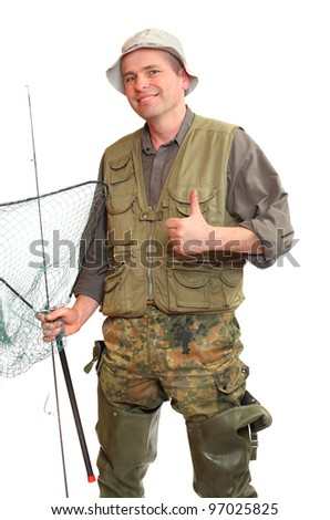 The fisherman with fishing rod and landing net. - stock photo
