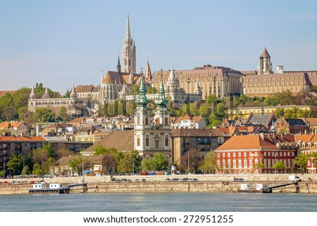 The Fishermen Towers from river Danube in Budapest, Hungary - stock photo