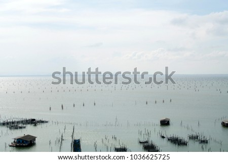 The fishery in a lake in the country, Thailand