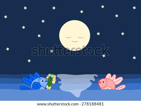 the fishes and the romantic night funny cartoon illustration - stock photo