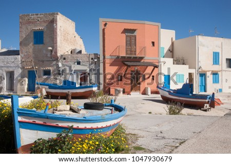 The fishing village of Punto Longa on the mediterranean island of Favignana which belongs to the Aegadian island archipelago of Sicily, Italy