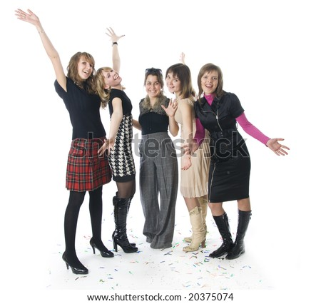 The five girls isolated on a white background