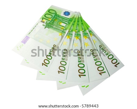 the five hundred euro banknotes isolated on white background