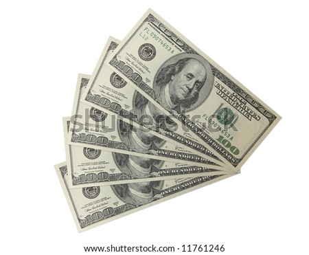 The five hundreds dollar banknotes isolated on a white background