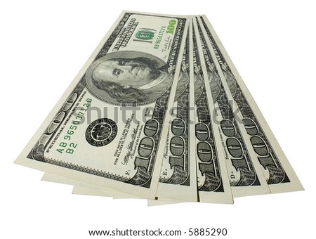 The five hundreds dollars isolated on white background - stock photo