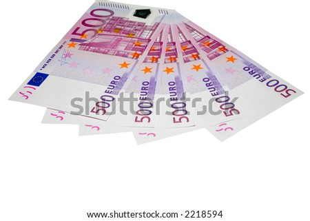 the five hundreds euro banknotes with clipping path